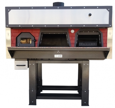 Wood combi oven (pizza & barbecue) D100FB, brick style, 90 pizzas á Ø 30 cm per hour, fixed & unheated baking surface, weight 1.700 kg