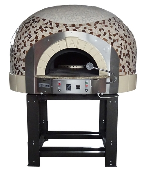 Gas pizza oven G100K-B0, dome with mosaic stones, 60 pizzas á Ø 30 cm per hour, fixed & unheated baking surface, weight 1.250 kg