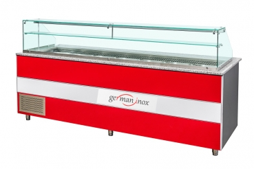 Gastro 2000mm refrigerated display case salad display case with glass top for Gastro Profi line