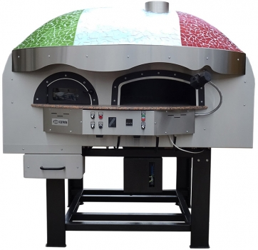 Hybrid pizza oven MIX120RK with wood and gas, dome with mosaic stones, 135 pizzas á Ø 30 cm per hour, rotatable & unheated baking surface, weight 1,950 kg