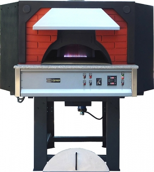 Gas pizza oven GR160C-BF, metal casing with brick elements, 270 pizzas á Ø 30 cm per hour, rotatable and separately heated baking surface, weight 2.300 kg